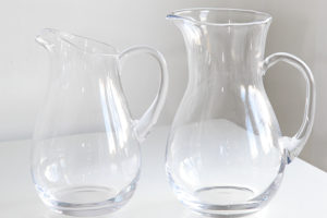 "Glass Pitchers  8"" and 10"""