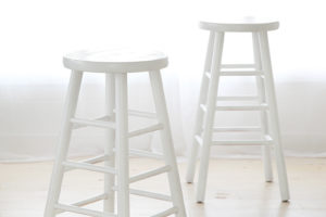 "Wooden Stools   2 Pieces White, 2 Pieces Green @ 30""H"